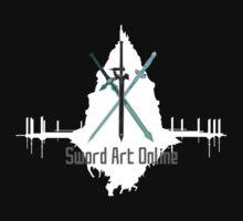 Sword Art Online Swords with Aincrad (Black Background) by ForeverDarkrai