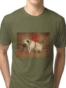 Pug with a Bow Tri-blend T-Shirt