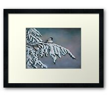 Chick-a-dees in the Snow Framed Print