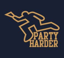 PARTY HARDER! with dead coroner murder outline and a beer glass Baby Tee