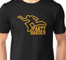 PARTY HARDER! with dead coroner murder outline and a beer glass Unisex T-Shirt