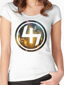 47 ORANGE BLUE AND GOLD NEBULA CIRCLE Women's Fitted Scoop T-Shirt