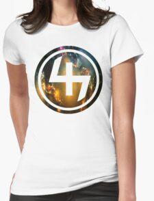 47 ORANGE BLUE AND GOLD NEBULA CIRCLE Womens Fitted T-Shirt