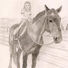 SYDNEY & HER HORSE FOR SHERRI - 4th sketch in series of Friends Pets by LadyE