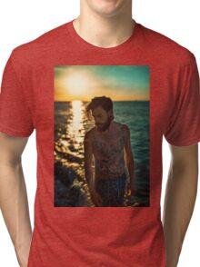 Sunset Tattoo Male Portrait Tri-blend T-Shirt