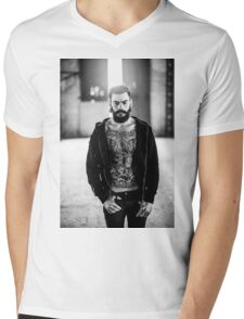 Light Tattoo Male Portrait Mens V-Neck T-Shirt