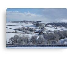 Wintry snowscape in Devon Canvas Print