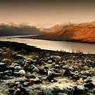 Loch Loyne frozen over, West Highlands, Scotland with unusual rocks by Nik Sargent www.inpictur.es