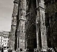 Biking below the Strasbourg Cathedral by kweirich