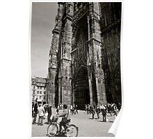 Biking below the Strasbourg Cathedral Poster