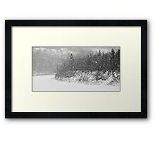 River in Heavy Snow Framed Print