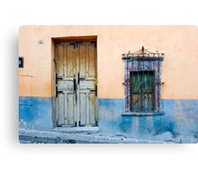 Door and Window on a Color Wall Canvas Print