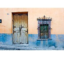 Door and Window on a Color Wall Photographic Print