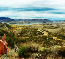 View of Vail Lake on Horseback by Rhonda Strickland