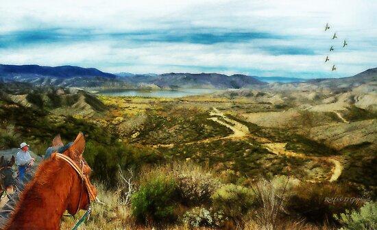 View of Vail Lake on Horseback by Rhonda Strickland