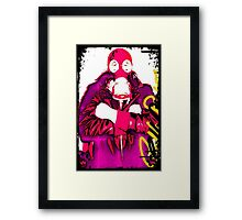 Hot pink gasmask Framed Print