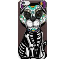 Day of the dead sugar skull cat tattoo graphic art iPhone Case/Skin