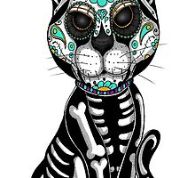 Day of the dead sugar skull cat tattoo graphic art by GinjaNinja1801