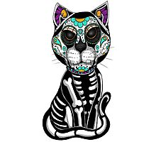 Day of the dead sugar skull cat tattoo graphic art Photographic Print