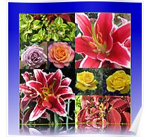 Lilies and Roses Summer Flowers Collage Poster