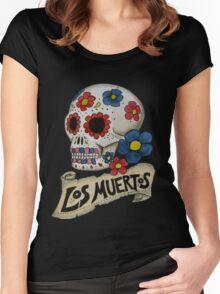 Los Muertos Skull Women's Fitted Scoop T-Shirt