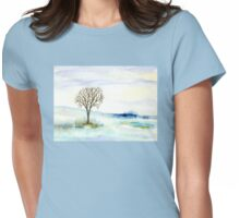 Lone Tree in the Snow Womens Fitted T-Shirt