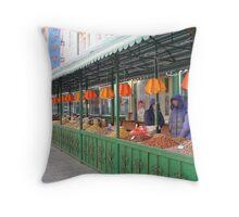 Outdoor Treats Market in Harbin, China Throw Pillow