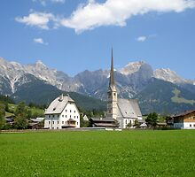 Chuch in Maria Alm With Austrian Alps in Background by Alecia Hoobing