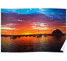 Sailboats At Sunset Poster