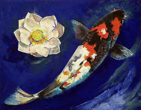 Showa Koi and Lotus Flower by Michael Creese
