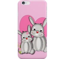 Cute Whimsy Mother And Baby Bunny Rabbits  iPhone Case/Skin