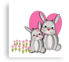 Cute Whimsy Mother And Baby Bunny Rabbits  Canvas Print