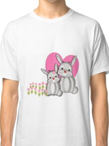Cute Whimsy Mother And Baby Bunny Rabbits  Classic T-Shirt