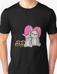 Cute Whimsy Mother And Baby Bunny Rabbits  T-Shirt
