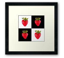 White & Black - Strawberries Framed Print