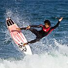 Surfers from Japan practicing at Turrimetta beach by Doug Cliff