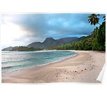 Sunset on Barbarons Beach, Seychelles Poster