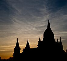 Bagan Temple at sunset by PhotAsia