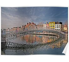 Dublin City Landmark, Ha'penny Bridge, Ireland Poster