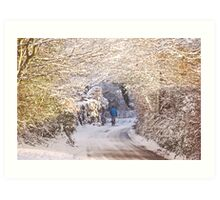 Walking in the Snow (Up To Bittery Cross) Art Print