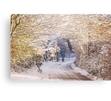 Walking in the Snow (Up To Bittery Cross) Canvas Print