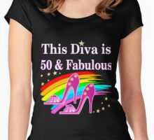 CHIC AND COLORFUL 50TH BIRTHDAY DESIGN Women's Fitted Scoop T-Shirt