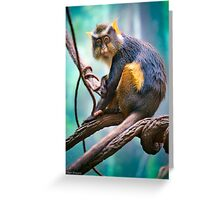 A perfect moment with a Wolf's Mona Monkey Greeting Card