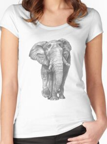 Elephant Drawing in Graphite Women's Fitted Scoop T-Shirt