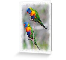 pair of happy parrots Greeting Card