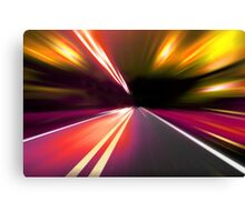 acceleration speed motion on night road Canvas Print