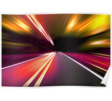 acceleration speed motion on night road Poster