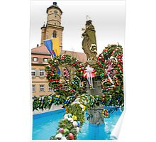 Easter fountain at Volkach am Main, Germany, Poster