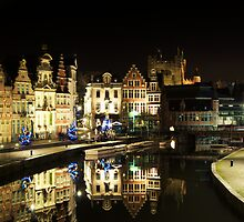 Ghent Historical centre, nightview by 7horses
