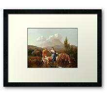Holy Family at a Stream by Karel Dujardin Framed Print